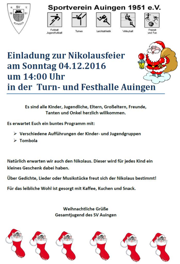 Einladung Nikolausfeier 2016
